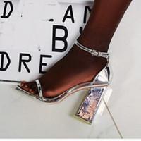 sparkly schuhe großhandel-Plus Size 35-40 41 42 Sparkly Silber Chunky Heel Damen Sandalen Brautbrautschuhe kommen mit Kasten