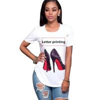 diseño para tops de algodon al por mayor-Marca de calidad superior de algodón de corte amasado Imprimir Carta camiseta de las mujeres del O-Cuello de las mujeres camiseta ocasional Mujer Diseño Tee Shirts Mujer S-2XL