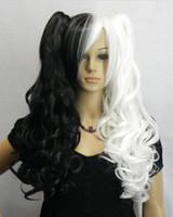 siyah beyaz at kuyruğu peruk toptan satış-WIG LL Sıcak Satış !!! Seksi siyah beyaz uzun kıvırcık cosplay kadınlar için Ponytails peruk Üzerinde Iki Klip peruk hızlı teslim