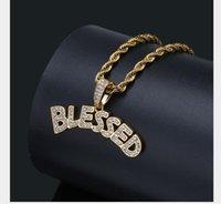 gesegnete halskette silber großhandel-Chaobai gesegnete Buchstaben Anhänger mit Zirkon Chao Man Halskette Zubehör