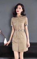 британское платье стиля женщины оптовых-Плед в полоску Классическая хлопчатобумажная юбка-миди в британском стиле 2019 года, лето с новым рукавом, с короткими рукавами, женское платье повседневная мода GU