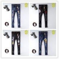 jeans rasgados para mujer algodón al por mayor-2020 nuevas mujeres Hombre rasgado de la moda Denim Jeans desgarrantes ligero de algodón apretado otoño del resorte ocasional clásico de los hombrespantalones de versace