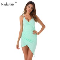 Wholesale sexy mint club dress for sale - Group buy Nadafair Mint Green Spaghetti Strap Sexy V Neck Club Bodycon Summer Dress Cotton Midi Casual Club Party Dresses