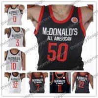 amerikan basketbolu toptan satış-Özel 2019 McDonald's All-American Beyaz Siyah Basketbol Forması # 50 Cole Anthony 2 Jaden McDaniels 5 Anthony Edwards 23 Scottie Lewis