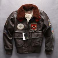 ingrosso giacca di pelle marrone rosso-Giubbotto bomber moda aeronautica militare A2 moda rosso giacche di pelle AVIREXFLY marrone scuro 100% vera pelle FAR EAST CRUISE 63-4