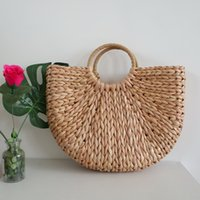 Wholesale plain pictures online - Women Semicircle Art Beach Bag Outdoor Travel Pictures Props Straw Bag Fashion Lady Woven Moon Fresh Handbag TTA569