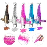 mini parmak vibratörler toptan satış-Titreşimli Dil Oral Parmak G-spot Vibratör Kadınlar için, Mini Klitoral Vajina Meme Stimülatörü Masajı Seks Oyuncakları