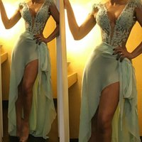 Wholesale mint green prom dresses resale online - Sexy Deep V Neck Sheath Prom Party Dresses Mint Green Chiffon Lace Front Split Formal Pageatn Evening Occasion Gowns Cheap