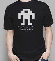 robô cinzento venda por atacado-Berzerk Robô T Camisa Retro Videogame Cinza Preto Presente Branco Camisa Frete Grátis