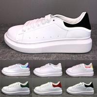 Wholesale mens dress shoes platform resale online - Luxury Platform Lace Up Designer Shoes Party Dress Girls Ladies Women Shoes White Black Velvet Reflective Leather Mens Casual Sneakers