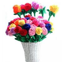 cortinas de rosas al por mayor-Plush Rose Flower Toy simulación de dibujos animados rose bouquet muñeca cortina hebilla decorado celebración juguetes Navidad Juegos de Novedad GGA1618