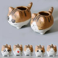 ingrosso arredamento da giardino in vendita-Cartoon Pet Cat Planter Pentole Vendita calda Finger Piante succulente Easy Growing Flowerpot Desktop Funny Balcony Garden Decor