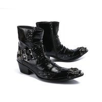 metal boot tips 2021 - 6.5cm Heels Men Boots Black Leather Dress Boots Metal Tip Botas Hombre with Buckles Punk Rock Motocycle Short Boots