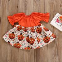 chicas de vestidos de acción de gracias al por mayor-Baby Girls Thanksgiving Dress Otoño de manga larga de algodón de dibujos animados de Turquía Vestido estampado Ropa de diseñador para niños Trajes de niñas 6M-5T 04