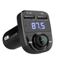 bluetooth telefon kitleri toptan satış-Araba FM Verici Bluetooth Handsfree MP3 Radyo Çalar Araç Kiti FM Modülatör Ipad Için 3.1A USB Araç Şarj ile telefon