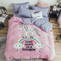 ropa de cama rosa gris reina al por mayor-Algodón de Dibujos Animados Rainbow Unicornio Juego de Cama Niños Doble Queen Size Girls Pink Edredón Funda de almohada Fundas de Almohada Sábanas Gris Colcha