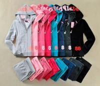 survêtements de velours rose achat en gros de-ROSE Survêtement de sport en velours pour femmes Costume en velours pour femmes Survêtement à capuche