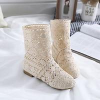 malha botas ocas venda por atacado-2018 Primavera Verão Mulheres Botas de malha Oco botas altas Moda Da Mulher Fresco botas Malha Respirável sapatos Das Mulheres Único Sapato