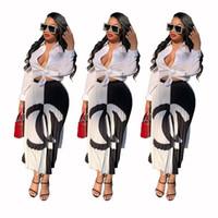 jupe plissée à la mode s achat en gros de-Été Femmes Robes Double C Lettres Jupes Plissées Patchwork Jupe Courte Contraste Couleur Robes De Soirée De Mode 2019 A61001
