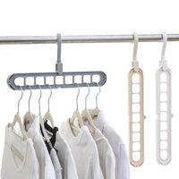 Wholesale pants hangers resale online - 9 Hole Space Saving Hanger Rotating Magic Hanger Multi function Folding Hanger Wardrobe Drying Clothes Storage EEA1420