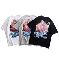 china tees hombres al por mayor-Hombres Hip Hop Camiseta Streetwear Retro Carácter Chino Camiseta Koi Peces Estampado Blanco Tops Tees 2019 Verano Harajuku Camiseta de algodón