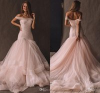 Wholesale blush melon prom dress for sale - Group buy 2020 Off The Shoulder Mermaid Blush Pink Prom Dresses Elegant Long Prom Gowns Tiered Skirt Tulle Vestidos De Formal Party Dresses