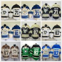 пустая хоккейная футболка оптовых-Толстовки с капюшоном Pittsburgh 71 Evgeni Malkin 81 Phil Kessel 87 Сидни Кросби Хоккей с капюшоном Толстовки Бланк зеленый с белым