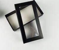 hediyeler için büyük kutular toptan satış-21 * 11 * 3.5 CM Büyük Siyah beyaz kapak kağıt ambalaj kutusu ile plastik pvc pencere peruk hediye cüzdan kravat ambalaj kağıt karton kutu
