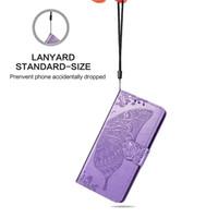 samsung çekirdek asal için cüzdan toptan satış-Kelebek Kabartmalı Desen Deri Kılıf Samsung Note8 Note9 J2 A2 Çekirdek Başbakan A7 Kart Yuvası Cüzdan Stander İpi Ile TPU Kapak Durumda
