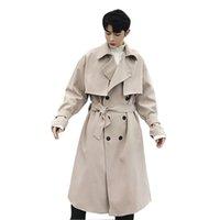 erkek iş hırka toptan satış-Erkek Gevşek Hırka Ceket Sonbahar İlkbahar Çift Giyim Erkek Vintage Çift Breasted Moda İş Casual Uzun Trençkot