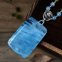 halskette rechteck perlen großhandel-Hochwertiger natürlicher Aquamarin-Anhänger 57x38x11mm bezaubert Kristallrechteck-Form 6.5mm Aquamarin-Korn-Halsketten-Anhänger