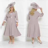 Wholesale tea length mother groom plus size resale online - New Plus Size Mother Of The Bride Dresses Sleeves Tea Length Scoop Neck Wedding Guest Dress Custom Mothers Groom Gown With Free Long Jacket
