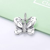 2019 Spring NEW 925 Sterling Silver Butterfly With Clear CZ Pendant Dangle charms beads Fits Pandora Jewelry DIY Bracelets Necklaces