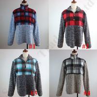 lã berberland feminino venda por atacado-Mulheres Senhoras Sherpa Pullover Zip Collar Berber Fleece Moletom Com Capuz Patchwork Xadrez Camisa Polar Blusas Peludas Casual Sport Cloth C91110