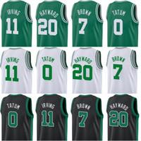 jersey patriota negro al por mayor-Hombres 2019 Nueva temporada Camisetas de baloncesto 11 Irving 20 Hayward 0 Tatum 7 Marrón 100% jersey cosido