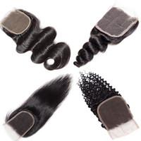 iyi örgü toptan satış-Vücut Dalga Brezilyalı Saç Örgüleri 4x4 Kapatma Unprcoessed İnsan Saç Uzantıları İyi Ucuz Vizon Brazlilian Vücut Derin Düz Gevşek Kapatma