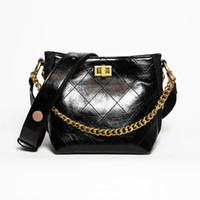 Wholesale oil skin bags resale online - Lovely2019 Bag Bucket Small Black Oblique Satchel Hippie Oil Wax Skin Rhombus Chain Woman Package