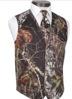 ingrosso legami migliori vestito-Camo Grooms Gilet per la festa nuziale Best Man Custom Made Slim Fit Gilet da uomo Prom Abito da sposa Gilet Plus Size (Vest + Tie)