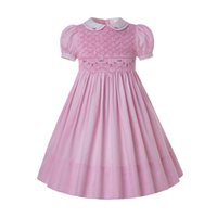 Wholesale dresses for babies toddlers for sale - Group buy Pettigirl Y Pink Hand Smocked Dresses For Toddlers Baby Cotton Flowers Smock Little Girls Smocked Dresses G DMGD204 P
