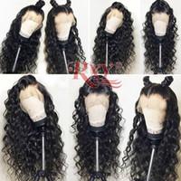 siyah için insan dantel perukları toptan satış-10a Sınıfı Bakire Saç Perulu Su Dalga 360 Dantel Peruk Siyah Kadınlar Için Hiçbir Arapsaçı Kıvırcık 360 Tam Dantel İnsan Saç Peruk 10-26 inç