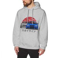 araba uzun kollu toptan satış-Nissan Skyline GTR Hoodies Araba Erkek 2018 Yeni Varış uzun Kollu O-Boyun Ücretsiz Kargo hoodies