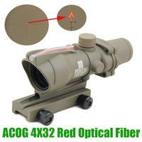 волоконно-оптическая красная точка оптовых-Прицел для охотничьего прицела ACOG 4X32 Волоконная оптика Шеврон со стеклянной подсветкой Red Dot с подсветкой Тактический оптический прицел