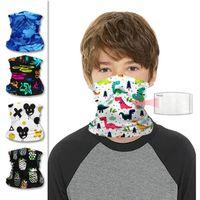 Wholesale multifunctional headwear scarf resale online - Children Neck Gaiter Multifunctional Headwear Kids Cartoon face mask Breathable Face Cover Bandanas Magic Scarf YYA125