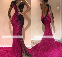 Wholesale one strap backless prom dress resale online - 2019 New One Shoulder Sequined Mermaid Evening Dresses Tulle Lace Applique Sweep Train Formal Celebrity Party Prom Dresses BC0468
