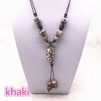 diy длинной цепочке кулон ожерелья оптовых-Fashion Ceramics  Pendant Ethnic Long Necklace Chain Blue/green/Khaki Jewelry Style DIY #B