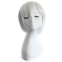 beyaz anime peruk toptan satış-Saf beyaz Anime peruk Cosplay renkli Kısa kıvırcık saç ile 28 cm sentetik örgü saç