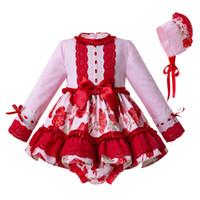 robes de bébés nouveau-nés achat en gros de-Pettigirl 2019 Rouge Nouveau-Né Bébé Fille Vêtements Set Fleur Imprimé 3 PCS O-cou De Mariage Robes De Filles G-DMCS111-C119