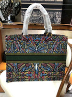 kanvas baskılar toptan satış-2018 marka moda lüks kadın çanta baskılı nakış tuval alışveriş çantası Fransız ünlü tasarımcı tote çanta