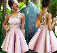 Wholesale modern line dress patterns online - 201o New Pink Short Lace Cocktail Dresses Lovely One Shoulder Prom Homecoming Party Cocktail Gown Celebrity Graduation Dresses BC2038