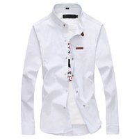 Solid color collar shirt men's casual solid color long-sleeved shirt business dress stitching
